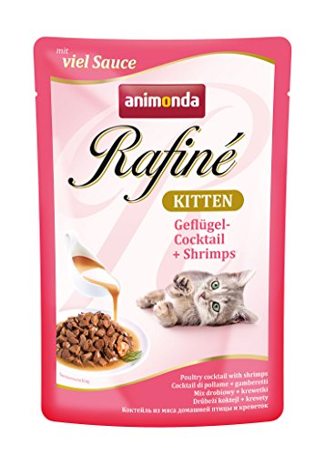 Animonda rafine Gattino Gatto Fodera Pollame Cocktail e gamberetti, pacco da (12 X 100 G)